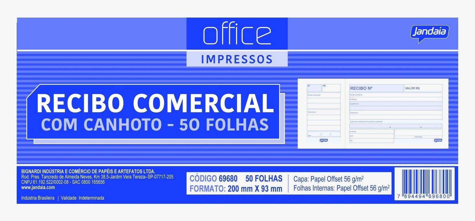 Office impressos - Recibo Comercial - Linha 2022